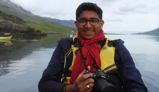In the kayak, Seyðisfjörður