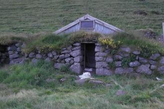 Hobbit house at the base of Eyjafjallajökull (phantom goat in it)